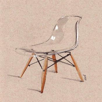 Image of Transparent Eames Side Chair sketch LIMITED EDITION of 20 prints -  Image of Transparent E