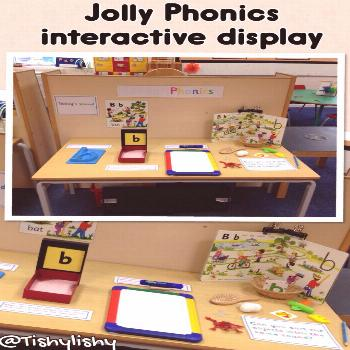 Jolly Phonic interactive display Roll and write letter Write in the sand Write on the whiteboard So