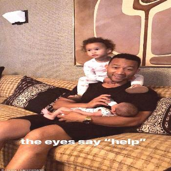 Parenting: John Legend, 39, doted on his two young children Luna, two, and six-week-old son Miles i