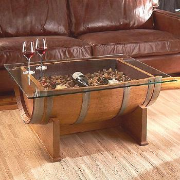 Wine Enthusiast -  French Oak Barrel Cocktail Table (Natural Finish) – Wine Enthusiast  -